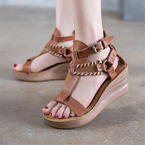 de EU de Azul Verano Color de Alto Zapatos Cuero 36 Marrón Sandalias tacón MIAOMIAOWANG Romanas la Retro tamaño de Personalidad del 2 Cuero 3 BwxqEF8T