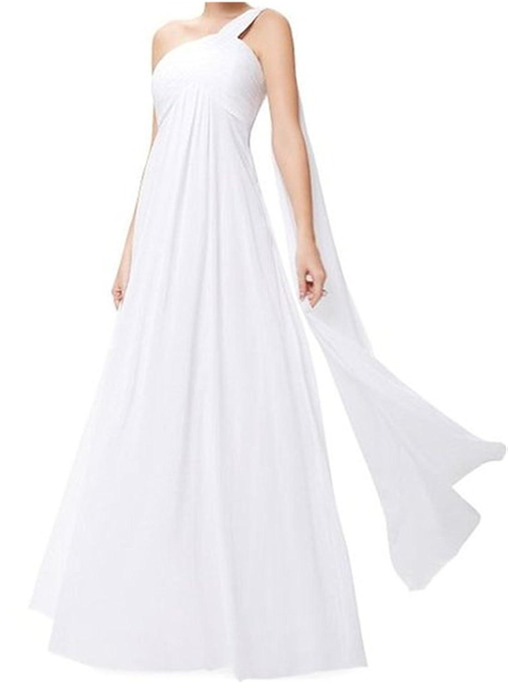 HelloGirls Appliques Beaded One-Shoulder Gowns Chiffon Long Evening Dress