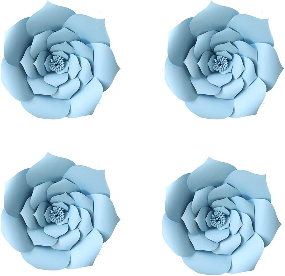 YLY's love 3D Paper Flower Decorations Giant Paper Flowers Party DIY Handcrafted Paper Flowers for Wedding Backdrop Bridal Shower Baby Shower Nursery Wall Home Decor (Blue, 4pcs-8in)