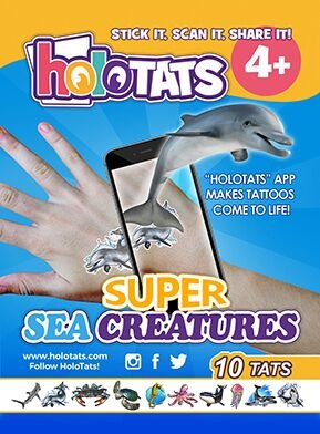 50% OFF Holo Tats Super Sea Creatures - Holographic Augmented Reality Temporary Tattoos For Kids. Great For Kids Parties (Pack of 10)