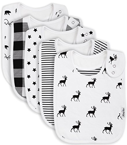 Premium, Organic Cotton Toddler Bibs, Unisex 5-pack Extra Large Baby Bibs for Boys and Girls by KiddyStar, Perfect Baby Shower Gift for Feeding, Drooling and Teething, Adjustable 5 Positions by KiddyStar