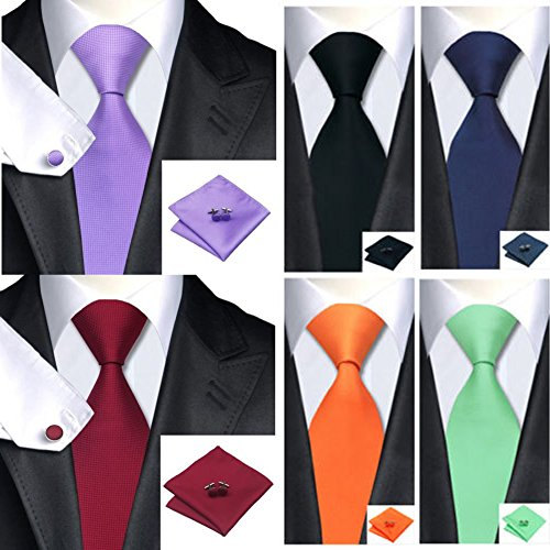 Blue Gift Cufflinks Silk Deep accessories Men's Mens Tie Woven Set Fanbufan amp;Handkerchief Men's Necktie nPOxRZwwq