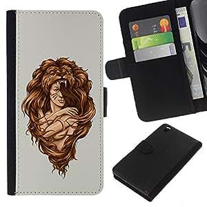 All Phone Most Case / Oferta Especial Cáscara Funda de cuero Monedero Cubierta de proteccion Caso / Wallet Case for HTC DESIRE 816 // Amazon Woman Warrior Lion Wild Nature Art