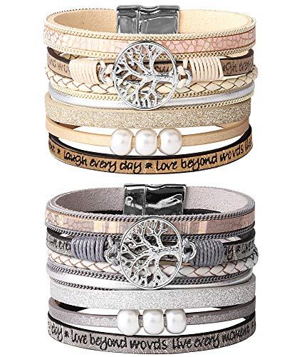 Jstyle 2Pcs Bohemian Leather Cuff Bracelet Set for Women Girls Multilayer Tree of Life Wrap Bangle Bracelets Set Gift for Wife Girlfriend Mother (Jewelry Trees For Sale)