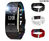 X-CHENG-Fitness-Tracker-IPX7-Waterproof-OLED-Touch-Screen-And-equipped-with-3-color-Watch-Bands-free-to-change-the-color-Wireless-Activity-Trackers-Smart-Bracelet-with-Heart-Rate-Monitors