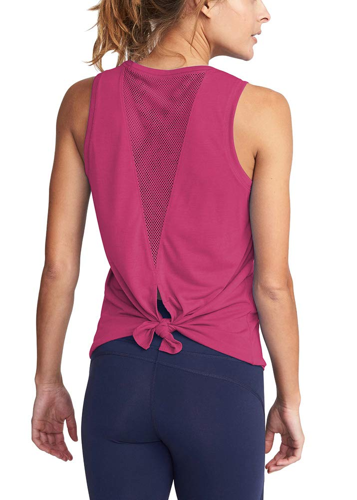 Mippo Women's Fashion 2019 Workout Tops Sexy Open Back Yoga Shits Mesh Tie Back Muscle Workout Tank Sleeveless Cute Fitness Active Tank Tops Comfort Sports Clothes Fuchsia S by Mippo