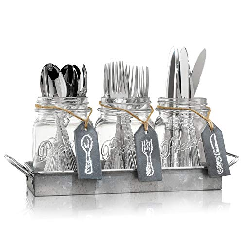 Flatware Caddy Organizer Cutlery Holder - 3 Glass Mason Jars in Galvanized Tray with Handles & Chalk-Tags | Utensil Farmhouse Silverware Caddy For Table | Ideal For Kitchen Countertop, Party, Dining, -