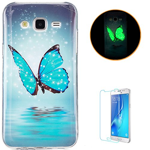 Samsung Galaxy J7/J7 2015 Soft Silicone Gel Case Luminous Effect KaseHom [Free Screen Protector] Green Glow in the Dark Colourful Blue Butterfly Pattern Jelly Clear TPU Skin Cover Bumper Shell (Ladybugs Luminous)