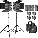 Neewer Bi-color LED Video Light and Stand Kit with Battery and Charger-660 LED with U Bracket and Barndoor(3200-5600K