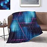 smllmoonDecor Navy and Blush Throw Blanket Eighties Inspired Retrofuturistic Triangles Virtual Reality Sci Fi Summer Quilt Comforter 90