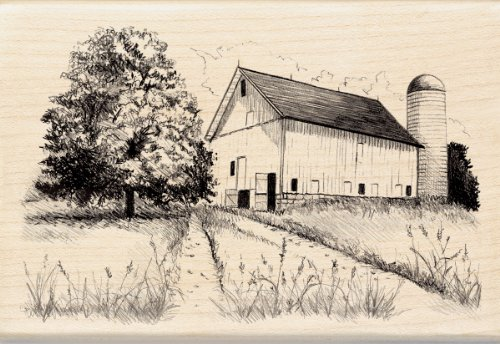 Inkadinkado Farm and Barn Wood Stamp for Arts and Crafts, 2.75'' L x 4'' W