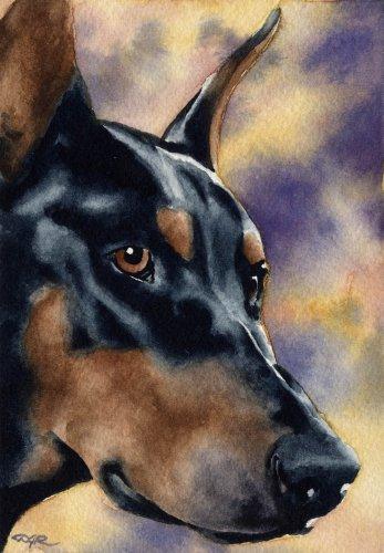 Doberman Pinscher Art Print by Watercolor Artist DJ Rogers