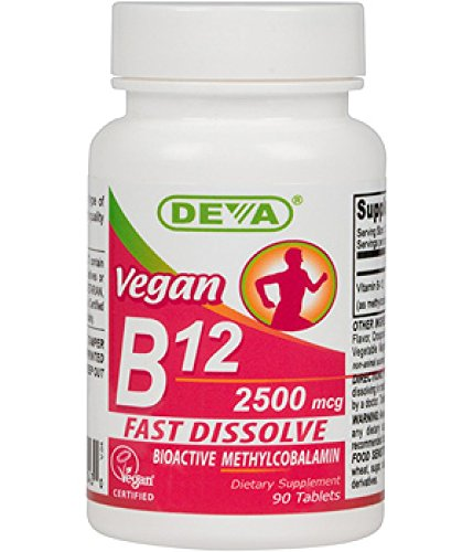 Deva Nutrition Vegan Sublingual Fast Dissolve B-12 Tablets, 2500 mcg, 90 Count