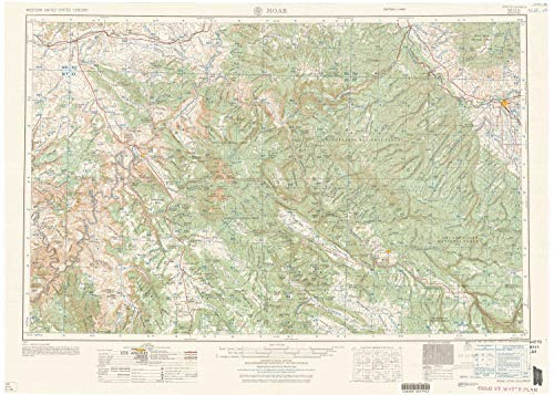 YellowMaps Moab UT topo map, 1:250000 Scale, 1 X 2 Degree, Historical, 1959, 22.2 x 31.1 in - Polypropylene