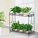 Topeakmart Indoor/Outdoor 2-Tier Metal Flower Stand Plant Stand Rack w/Tray Design Garden and Home Black,33.5 x 13.4 x 31.9in. W x D x H