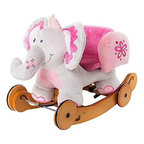 Labebe Child Rocking Horse Toy, Pink Rocking Horse Plush, 2 in 1 Elephant Rocker with Wheel for Kid 6-36 Months, Stuffed Animal Rocker Toy/Kid Rocking Toy/Wooden Rocking Horse/Rocker/Animal Ride on (Pink Princess Rocker)
