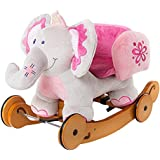 labebe Child Rocking Horse Toy, Pink Rocking Horse Plush, 2 in 1 Elephant Rocker with Wheel for Kid 6-36 Months, Stuffed Animal Rocker Toy/Kid Rocking Toy/Wooden Rocking Horse/Rocker/Animal Ride on