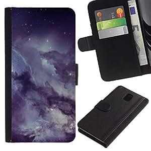 // PHONE CASE GIFT // Moda Estuche Funda de Cuero Billetera Tarjeta de crédito dinero bolsa Cubierta de proteccion Caso Samsung Galaxy Note 3 III / Misty Cloudy Starry Sky Night /