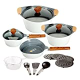 100 ceramic cookware - Ceramic Cookware Set Dishwasher Safe Nonstick Aluminum Induction Kitchen Cookware Set with Cooking Utensil Pack- 19 - White