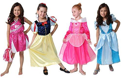 Classic Storybook Princess Dress 4 Pack Set (4/6, Hot Pink/Pink & Blue/Yellow) -