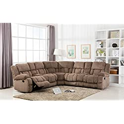 Classic Large Linen Fabric L Shape Sectional Recliner Sofa Couch (Hazelnut)