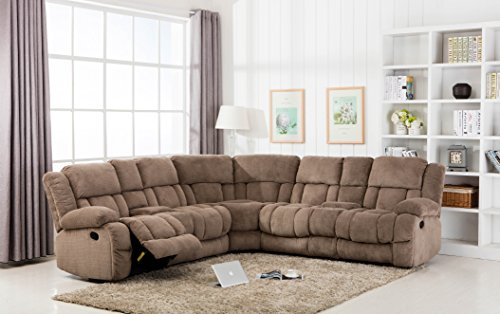 Classic Large Linen Fabric L Shape Sectional Recliner Sofa C