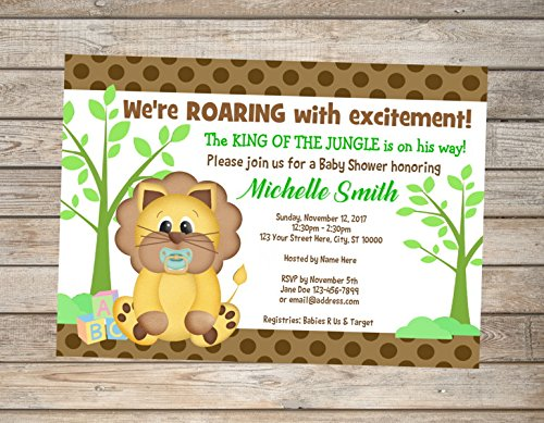 Lion Boy Baby Shower Invitation, King Of The Jungle Printable Boy Baby Shower -