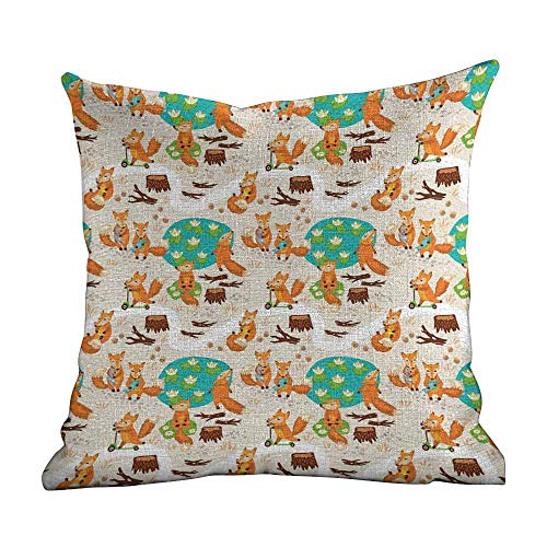 - Personalized Pillowcase for Kids Baby,Cute Little Foxes Playing Next to Ponds Forest Tree Trunks Catching Fish Having Fun,Multicolor,Printed Pillow with Insert & Hidden Zipper 20
