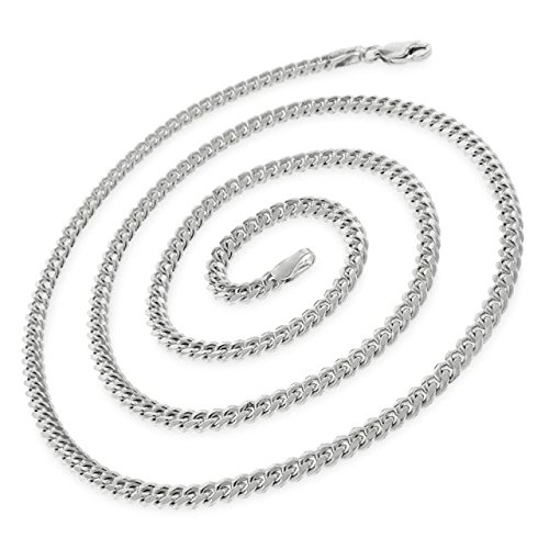 14k White Gold 3.5mm Solid Miami Cuban Curb Link Necklace Chain 16'' - 30'' (24) by In Style Designz (Image #1)