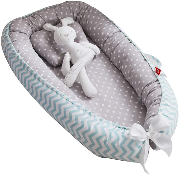 Grey Wave Star Infant Sleeping Nest//Pods Breathable 100/% Cotton Portable Crib for Bedroom//Travel 0-24 Months Newborn Baby Lounger TEALP Multifunctional Baby Nest