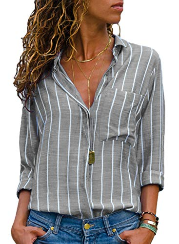 Button Up Long Sleeve Blouse - Button up Shirts for Women,Womens Blouses and Tops for Work Long Sleeve Casual V Neck Pockets Striped Ladies Tops Grey Large