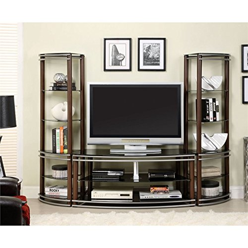 Furniture of America Beverly 3-Piece Tempered Glass Media Console and Pier Shelf Set, Brown and Silver
