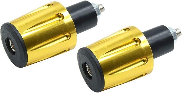 uxcell 2Pcs Brass Tone Aluminum Alloy Motorcycle Motorbike 17mm Handlebar End Cap