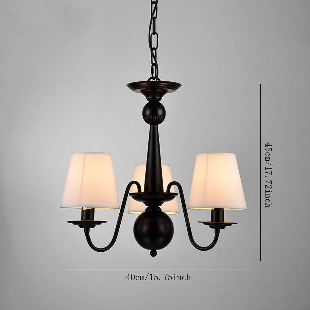 Cloth Cover American Chandeliers Pendant Lighting 3 Lights Antique Black Wrought Iron Ceiling Lamp Fixture Modern White Fabric Lampshade for Restaurant, Dining Room, Living Room by YANCEN (Image #5)
