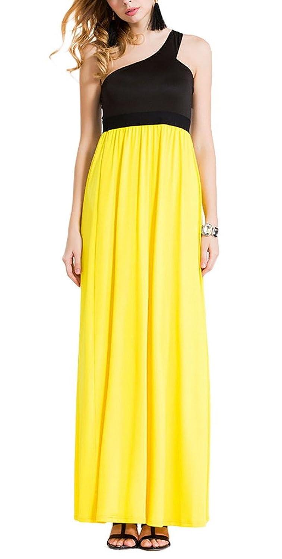 Aivtalk Damen Ohne Arm Ein Schulter Maxi Casual Kleid Sommerkleid Partykleid - Gelb und Schwarz