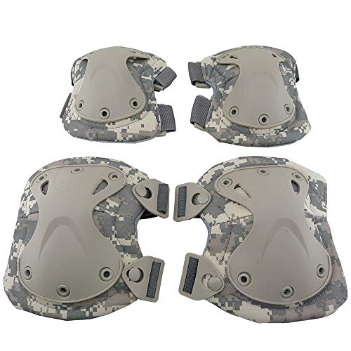 ActionUnion Adult Elbow Pad Knee Pads Protective Gear Set Guard Tactical Shooting Pads Military Army Combat Protection Sports Pads Equipment for CS Paintball Game Biking Skating (ACU Camouflage)