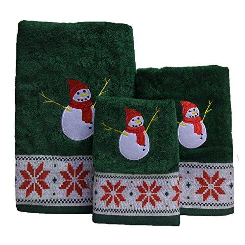 LifeWheel Christmas Snowman Cartoon Cotton Towel Set with 1 Bath and 2 Hand Towels