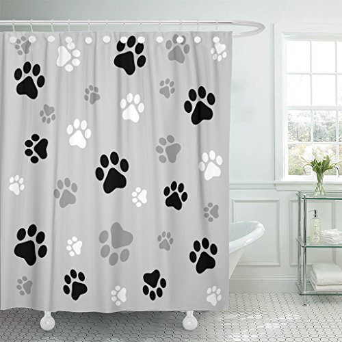 Emvency Shower Curtain Colorful Pawprint Animal Paw Black and Ash Gray Cat Waterproof Polyester Fabric 72 x 78 Inches Set with Hooks