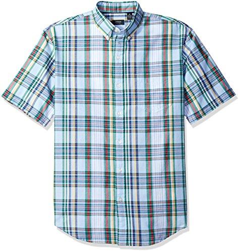 Arrow Men's Short Sleeve Madras Shirt, Placid Blue, Small