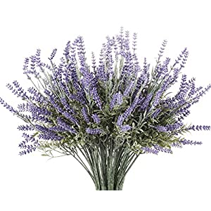 Butterfly Craze 8 Bundle Artificial Flower Purple Lavender Bouquet with Green Leaves for Home Party Decorations 14