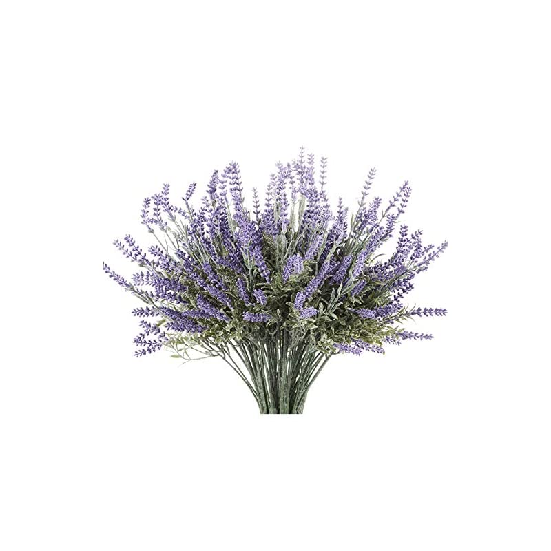 silk flower arrangements butterfly craze artificial lavender plant 4-piece bundle – lifelike faux silk flowers for weddings, crafting, kitchen decor or rustic home decor – indoor/outdoor use