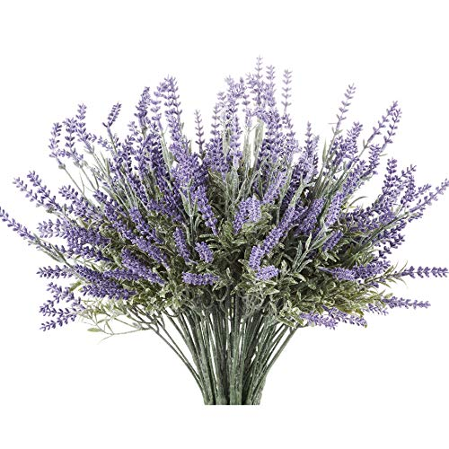 Butterfly Craze 8 Bundle Artificial Flower Purple Lavender Bouquet with Green Leaves for Home Party Decorations