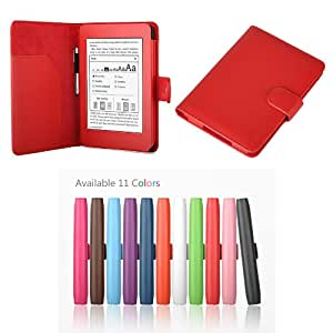 """Exact PU Leather Folio Case for Amazon Kindle Paperwhite (6"""" High Resolution Display with Built-in Light), RED (with Auto Sleep/Wake)"""