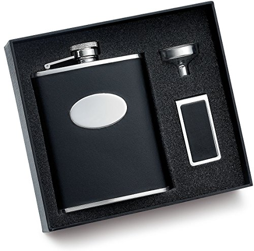 6 oz. Black Bonded Leather Flask w/ Money Clip and Funnel Gift Set & Gift Box Perfect Gift For Him / Her ()