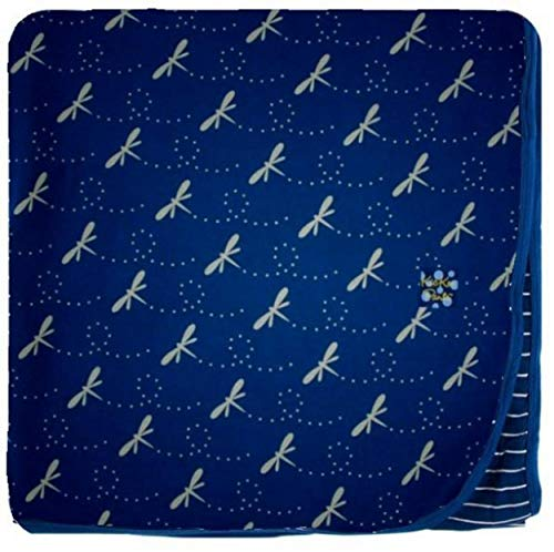 (KicKee Pants Little Boys Custom Print Toddler Blanket - Navy Dragonfly with Tokyo Navy Stripe Backing and Navy Trim, One)