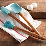 The Pioneer Woman Cowboy Rustic 3-Piece Silicone Head Utensil Set with Acacia Wood Handle, Turquoise/Blue by The Pioneer Woman