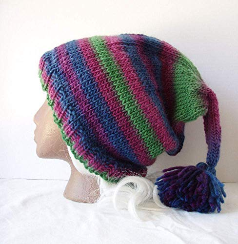 (Purple Blue Green Striped Beanie Handknit Tasseled Stocking Cap Wool Elf Hat Size XXL)