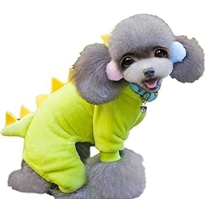 1174210806a Amazon.com : Pet Dog Cat Yellow Fleece Dinosaur Jumpsuit Halloween ...