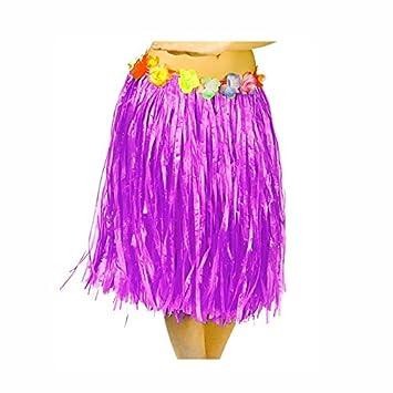 Falda Hawaiana Adulto Hula Lila (60 cm): Amazon.es: Juguetes y juegos