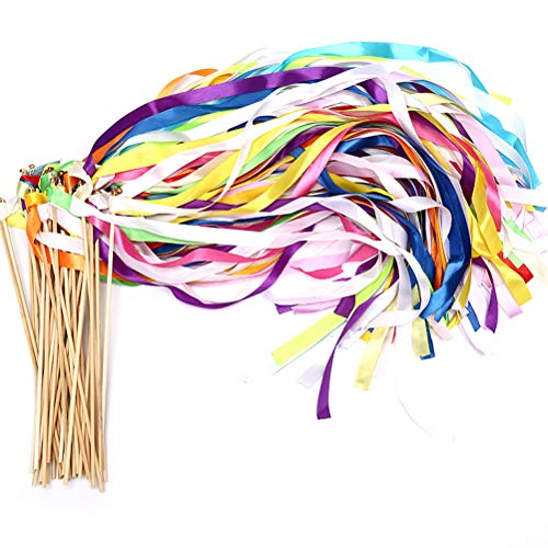 40 Pack Ribbon Wands - MeiMeiDa Mix Color Ribbon Fairy Wands with Bell and Smooth Wood Sticks, Chromatic Silk Waving Party Streamers for Wedding Best Wishes, Kids Birthday Props, Dance Party Favors ()